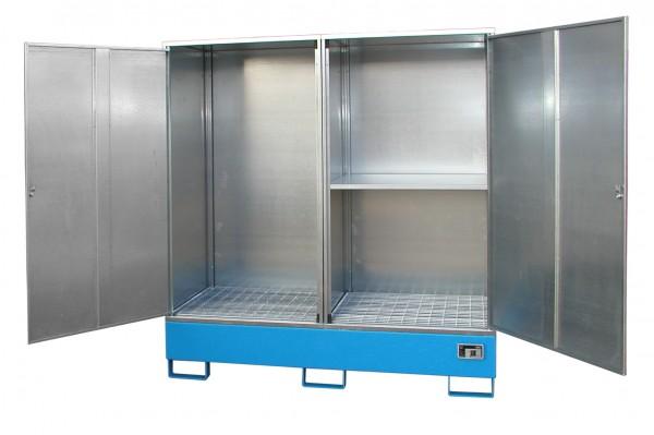 Gefahrstoff-Schrank GS-2, lackiert - lichtblau 1680x690x1780mm, 2 Türen, 2 x 200-l-Fässer, 230 Liter