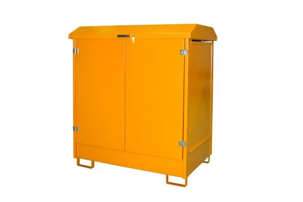 Depot GD-N 2, verzinkt + lackiert - gelborange 1437x1015x1614mm, 2 x 200-l-Fässer, 210 Liter