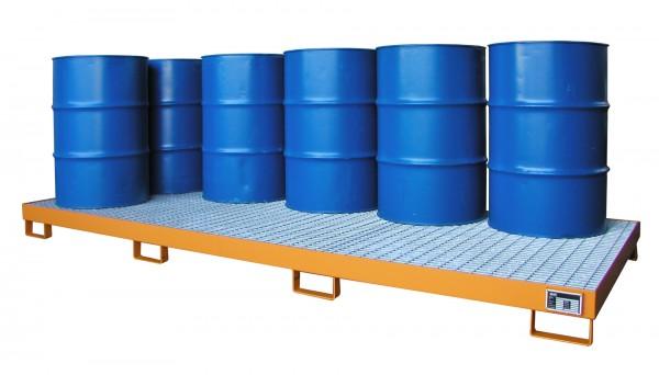 AW-10, lackiert - gelborange 3250x1300x190mm, 10 x 200-l-Fässer, 240 Liter