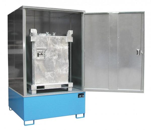 Gefahrstoff-Schrank GS-4, lackiert - lichtblau 1475x1460x2410mm, 1 Tür, 1 x 1000-l-IBC, 1000 Liter