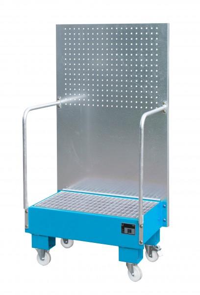 FA mit Lochplattenwand LPW 60-2, lackiert - lichtblau 500x800x415mm, 2 x 60-l-Fass, 60 Liter