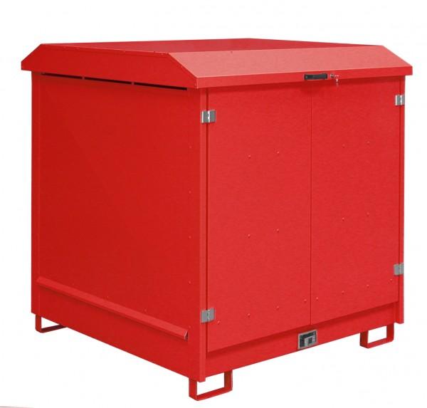 Depot GD-N 4, verzinkt + lackiert - feuerrot 1437x1500x1557mm, 4 x 200-l-Fässer, 220 Liter