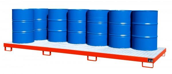 AW-12, lackiert - feuerrot 3850x1300x200mm, 12 x 200-l-Fässer, 335 Liter