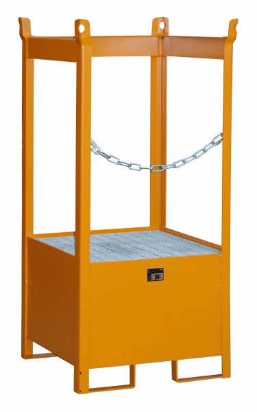 FSP-1, lackiert - gelborange 755x755x1590mm, 1 x 200-l-Fass, 210 Liter