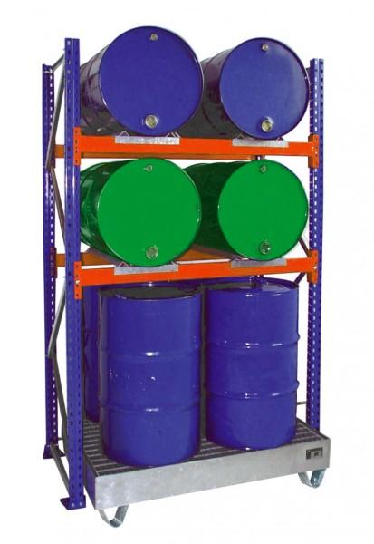Anbauregal mit Wanne 3011 1350x800x2500mm, 2 Ebenen, 4/4 x 200-l-Fässer liegend/stehend, mit Gitterr