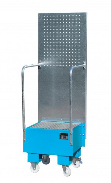 FA mit Lochplattenwand LPW 60-1, lackiert - lichtblau 500x500x505mm, 1 x 60-l-Fass, 60 Liter