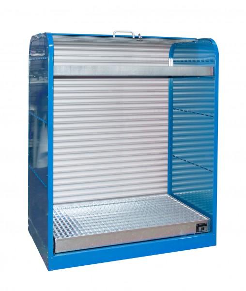 Rollladenschrank RSG-3, lackiert - lichtblau 1300x870x1610mm, 6 x 60-l-Fässer, 73 + 45 Liter