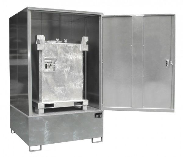 Gefahrstoff-Schrank GS-4, feuerverzinkt 1475x1460x2410mm, 1 Tür, 1 x 1000-l-IBC, 1000 Liter
