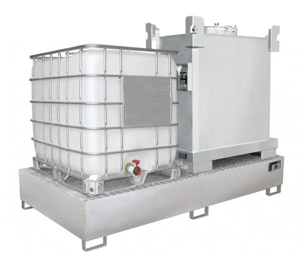 VAW-1000-2, Edelstahl 2650x1300x435mm, 2 x 1000-l-IBC, 1000 Liter, ohne Gitterrost