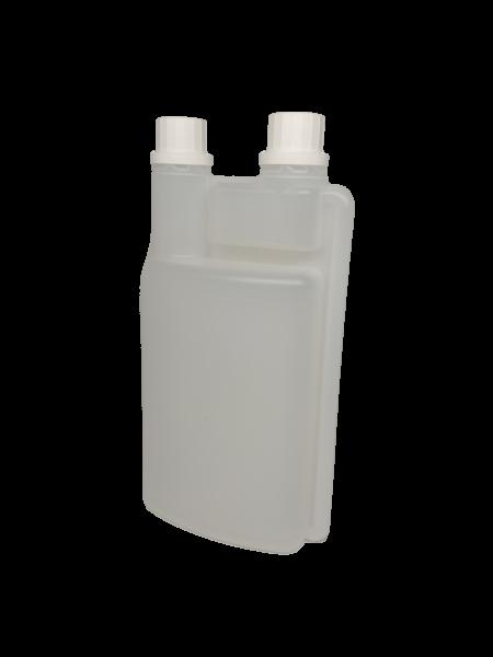 Dosierflasche 1000 ml mit 60-ml-Dosierkammer und Etikettenbereich ca.14,5 x 10,0 cm aus HD-PE natur