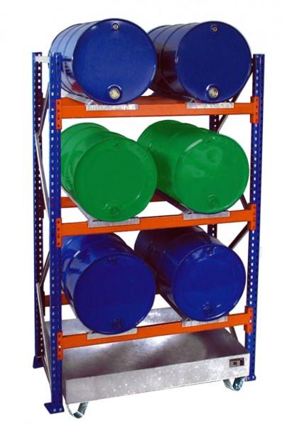 Fassregal mit Wanne 3002 1350x800x2500mm, 3 Ebenen, 6 x 200-l-Fässer liegend, ohne Gitterrost
