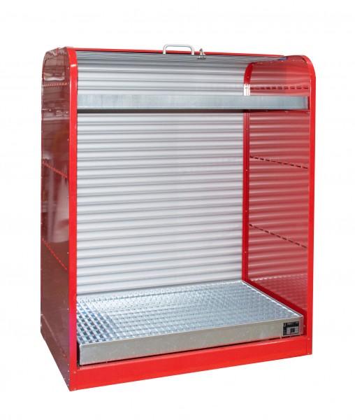 Rollladenschrank RSG-3, lackiert - feuerrot 1300x870x1610mm, 6 x 60-l-Fässer, 73 + 45 Liter