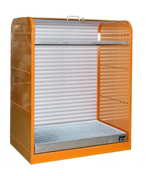 Rollladenschrank RSG-2, lackiert - gelborange 1300x870x1610mm, 6 x 60-l-Fässer, 73 Liter
