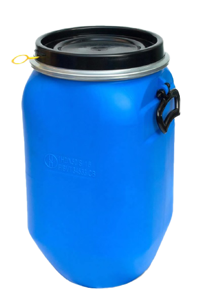 Deckelfass 30 Liter aus HD-PE blau QUADRO mit schwarzem Deckel und UN-Zulassung