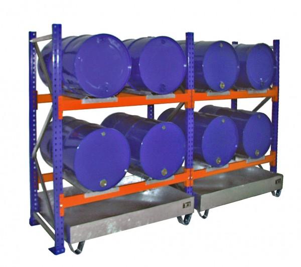 Anbauregal mit Wanne 3001 1350x800x2000mm, 2 Ebenen, 4 x 200-l-Fässer liegend, ohne Gitterrost