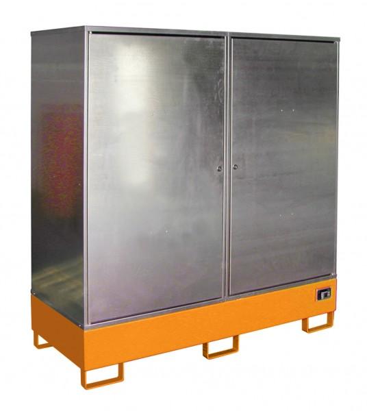 Gefahrstoff-Schrank GS-2, lackiert - gelborange 1680x690x1780mm, 2 Türen, 2 x 200-l-Fässer, 230 Lite