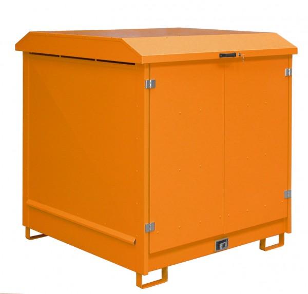 Depot GD-N 4, verzinkt + lackiert - gelborange 1437x1500x1557mm, 4 x 200-l-Fässer, 220 Liter