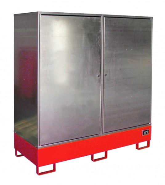 Gefahrstoff-Schrank GS-2, lackiert - feuerrot 1680x690x1780mm, 2 Türen, 2 x 200-l-Fässer, 230 Liter
