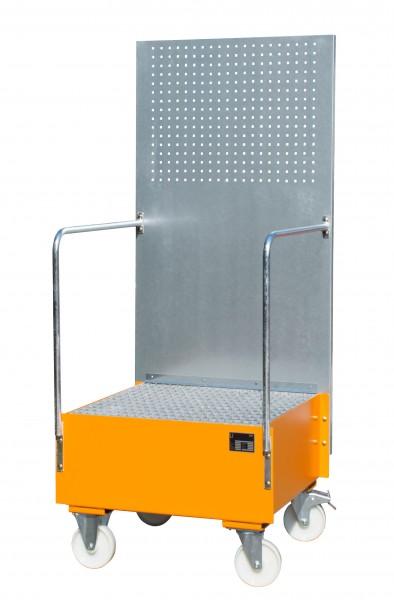 FA mit Lochplattenwand LPW 200-1, lackiert - gelborange 800x800x610mm, 1 x 200-l-Fass, 203 Liter