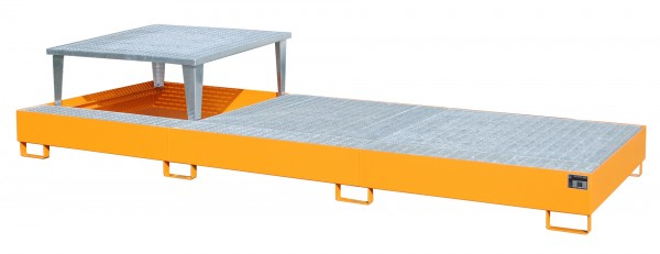AWA 31, lackiert - gelborange 3850x1460x780mm, 1 x Abfüllaufsatz, 2 x Gitterrost, 3 x 1000-l-IBC, 10