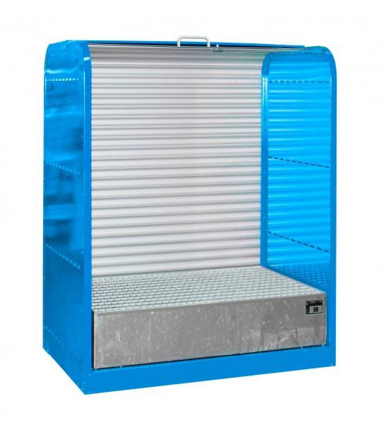 Rollladenschrank RSG-1, lackiert - lichtblau 1300x870x1610mm, 2 x 200-l-Fässer, 215 Liter
