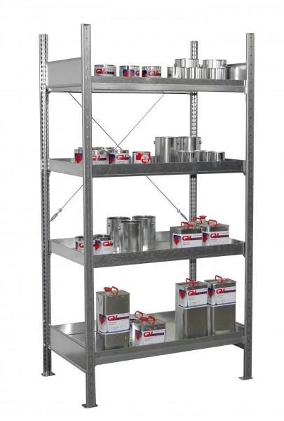 Kleingebinderegal mit Auffangwanne 3019 1000x600x2000mm, 4 Ebenen (4 Wannen a 30 Liter)