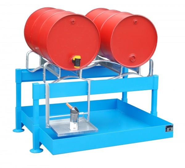 Fass-Abfüllstation FAS-2, lackiert - lichtblau 1300x1550x735mm, 2 x 200-l-Fässer, 220 Liter