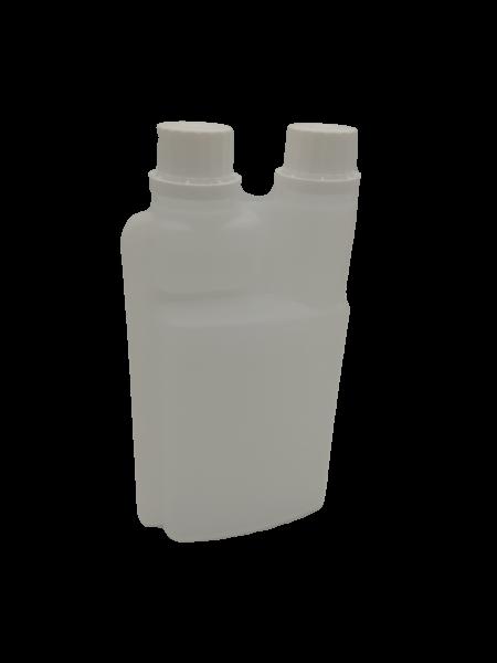 Dosierflasche 500 ml mit 25-ml-Dosierkammer und Etikettenbereich ca. 8cm x 10,5cm aus HD-PE natur mi