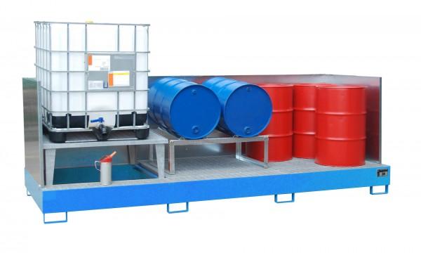 AWA 31, lackiert - lichtblau 3850x1460x780mm, 1 x Abfüllaufsatz, 2 x Gitterrost, 3 x 1000-l-IBC, 100