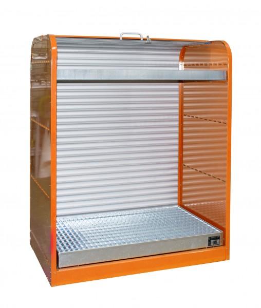 Rollladenschrank RSG-3, lackiert - gelborange 1300x870x1610mm, 6 x 60-l-Fässer, 73 + 45 Liter