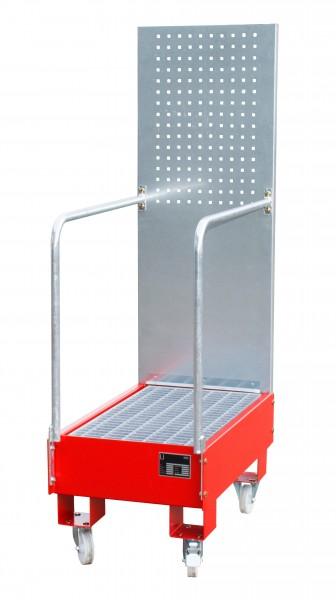 FA mit Lochplattenwand LPW 60-3, lackiert - feuerrot 800x500x415mm, 2 x 60-l-Fass, 60 Liter