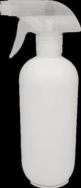 Zylinderflasche 500 ml HDPE, weiss mit Triggersprayer PP natur
