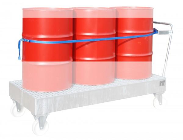 Fasshalterung mit Spanngurt für 3 x 200 Liter Fass 675x245x50mm
