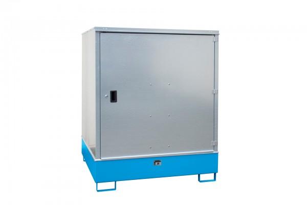 Gefahrstoff-Schrank GS-3, lackiert - lichtblau 1475x1460x1805mm, 1 Tür, 4 x 200-l-Fässer, 4687 Liter