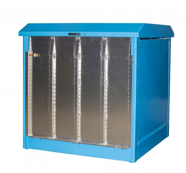 Depot GD-N/R 4, verzinkt + lackiert - lichtblau 1437x1500x1457mm, 4 x 200-l-Fässer, 220 Liter