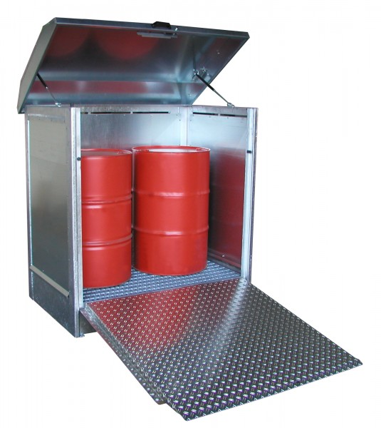 Depot GD-N/R 2, verzinkt 1437x1015x1514mm, 2 x 200-l-Fässer, 210 Liter