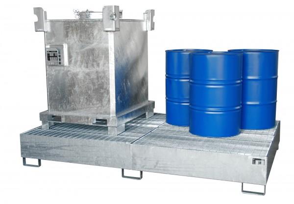 AW 1000-10F, feuerverzinkt 2690x1650x375mm, 10 x 200-l-Fässer, 2 x 1000-l-IBC, 1000 Liter