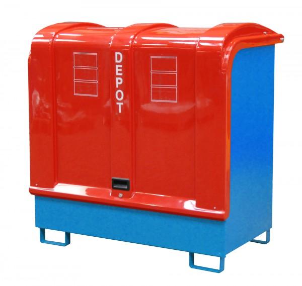 Depot GD-B, lackiert - lichtblau 1460x830x1460mm, 2 x 200-l-Fässer, 220 Liter