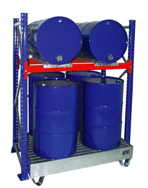 Fassregal mit Wanne 3008 1350x800x2000mm, 1 Ebene, 2/4 x 200-l-Fässer liegend/stehend, mit Gitterros