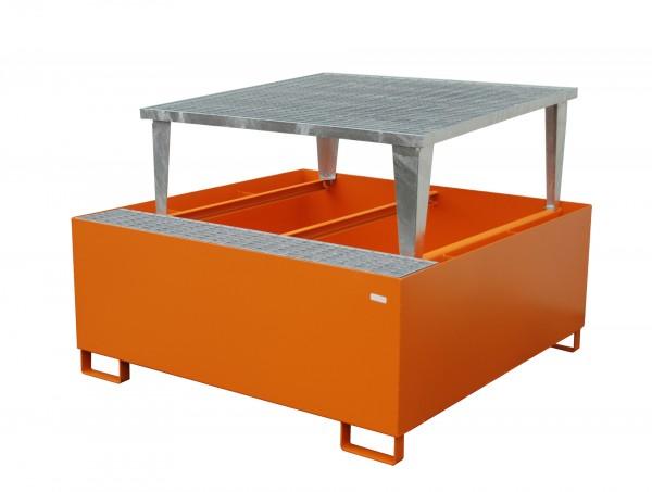 AWA 1000, lackiert - gelborange 1460x1460x1090mm, 1 x Abfüllaufsatz,1 x 1000-l-IBC, 1000 Liter