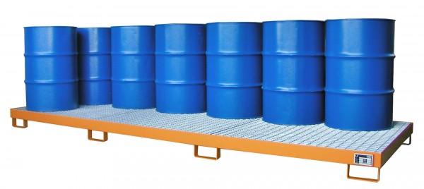 AW-12, lackiert - gelborange 3850x1300x200mm, 12 x 200-l-Fässer, 335 Liter