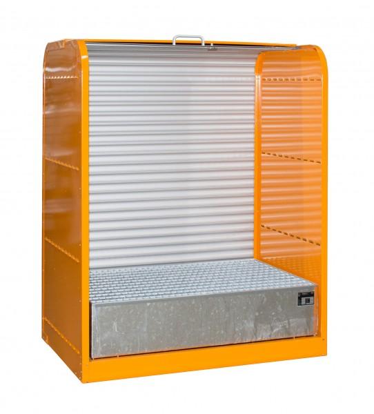 Rollladenschrank RSG-1, lackiert - gelborange 1300x870x1610mm, 2 x 200-l-Fässer, 215 Liter