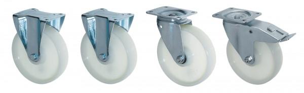 Rollensatz für Auffangwannen Typ AW 60 Raddurchmesser: 100 mm, Bauhöhe: 125 mm, 125kg/Rolle