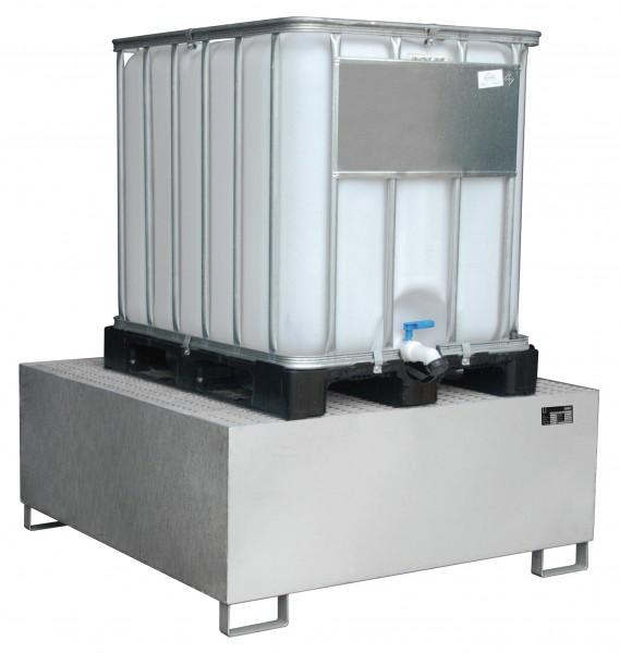 VAW-1000, Edelstahl 1460x1460x620mm, 1 x 1000-l-IBC, 1000 Liter, ohne Gitterrost