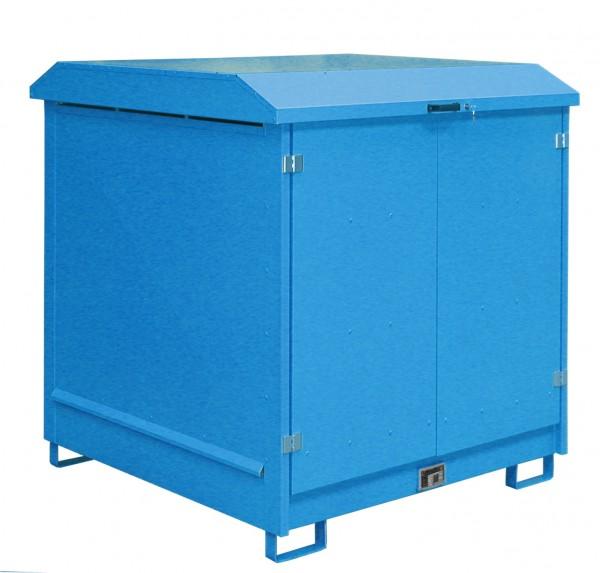 Depot GD-N 4, verzinkt + lackiert - lichtblau 1437x1500x1557mm, 4 x 200-l-Fässer, 220 Liter