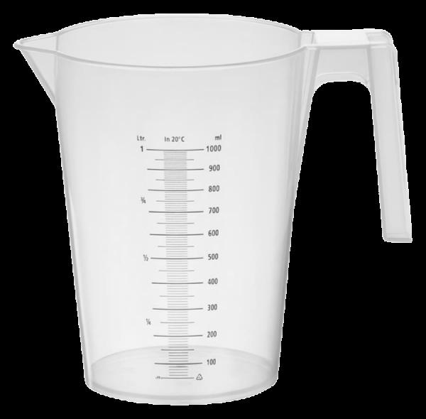 Messbecher aus PP, 1000 ml, stapelbar, schwarz gedruckte Skala