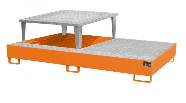 AWA 21, lackiert - gelborange 2650x1460x863mm, 1 x Abfüllaufsatz, 1 x Gitterrost, 2 x 1000-l-IBC, 10