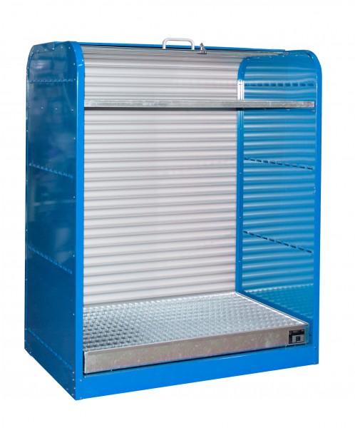 Rollladenschrank RSG-2, lackiert - lichtblau 1300x870x1610mm, 6 x 60-l-Fässer, 73 Liter