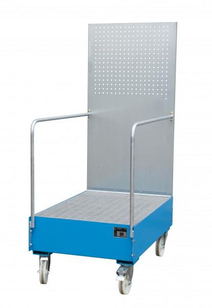 FA mit Lochplattenwand LPW 200-3, lackiert - lichtblau 1200x800x515mm, 2 x 200-l-Fass, 215 Liter