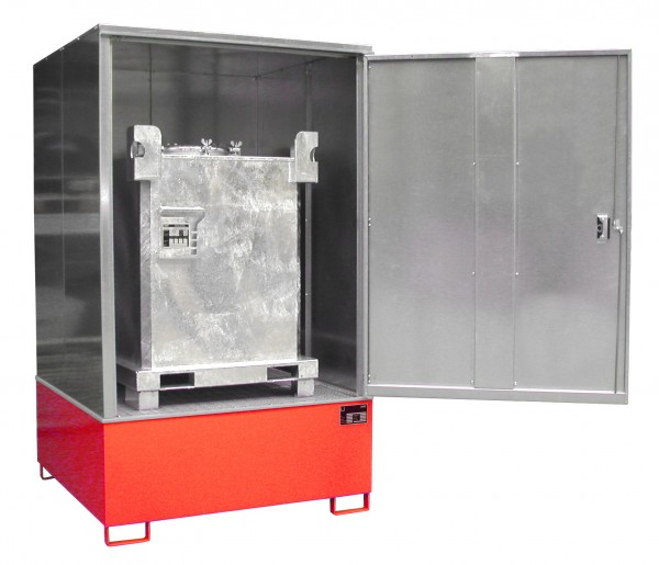 Gefahrstoff-Schrank GS-4, lackiert - feuerrot 1475x1460x2410mm, 1 Tür, 1 x 1000-l-IBC, 1000 Liter